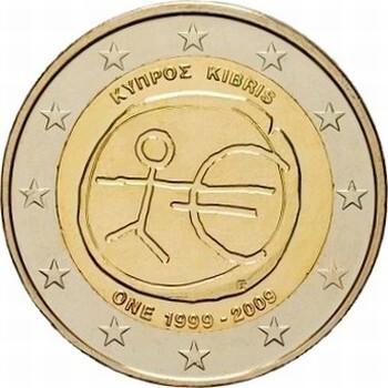 Кипр 2 евро 2009 года 10 лет Экономическому и валютному союзу код 21488