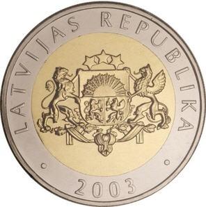 Латвия 2 лата 2003 года Корова код 21975