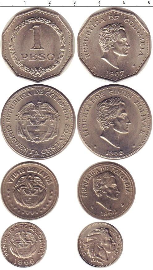 Колумбия набор монет периода 1958-1968 годов код 22050