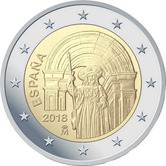 Испания 2 евро 2018 года Исторический центр Сантьяго-де-Компостела код 22136