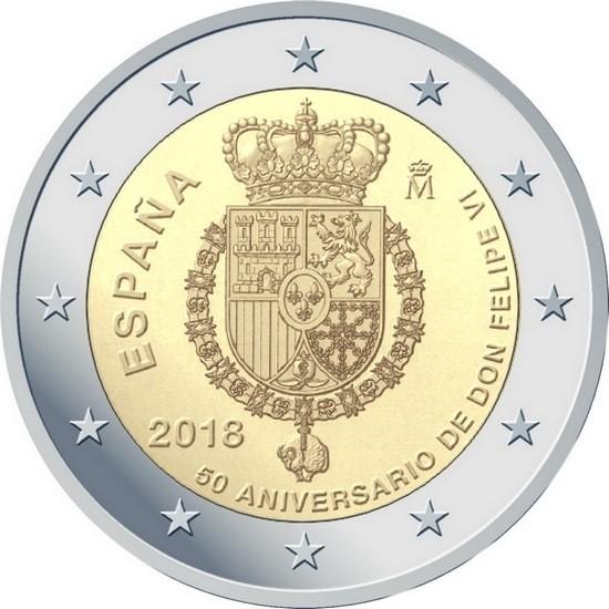 Испания 2 евро 2018 года 50 лет со дня рождения короля Филиппа VI код 22137