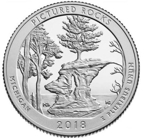 США 25 центов 2018 года Национальные озёрные побережья живописных камней. Мичиган код 22142