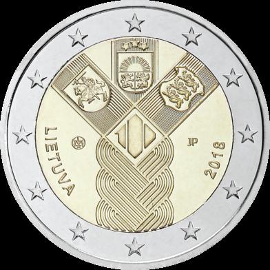 Литва 2 евро 2018 года 100 лет независимости код 22131