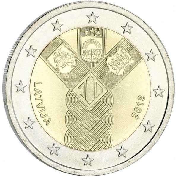 Латвия 2 евро 2018 года 100 лет независимости код 22132