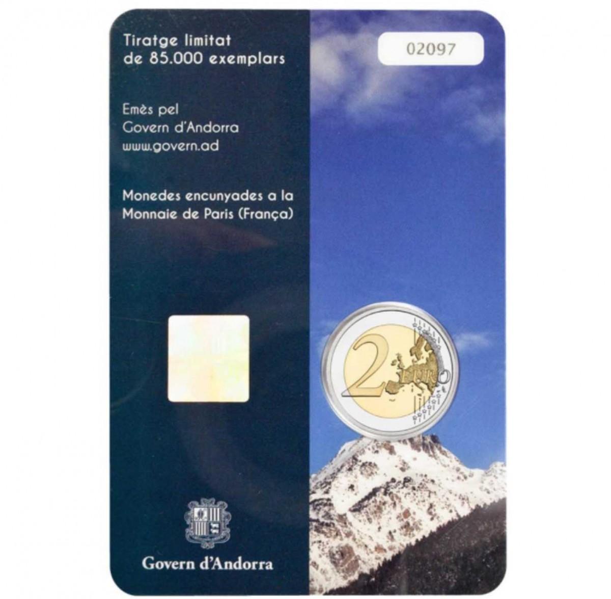 Андорра 2 евро 2017 года Cтрана в Пиренеях