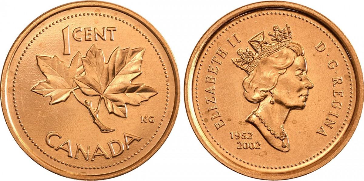 Канада 1 цент период 1997-2002 годов код 22314