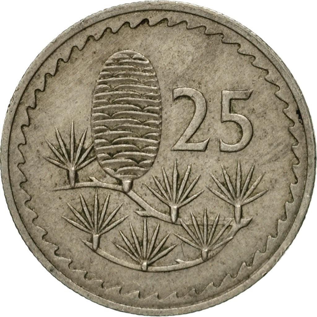 Кипр 25 мил периода 1963–1982 годов код 22343