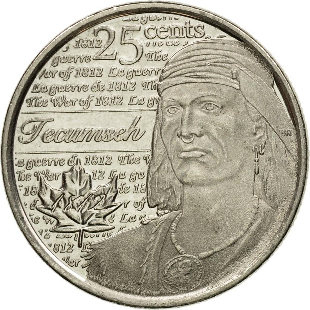 Канада 25 центов 2012 года Война 1812 года код 22349