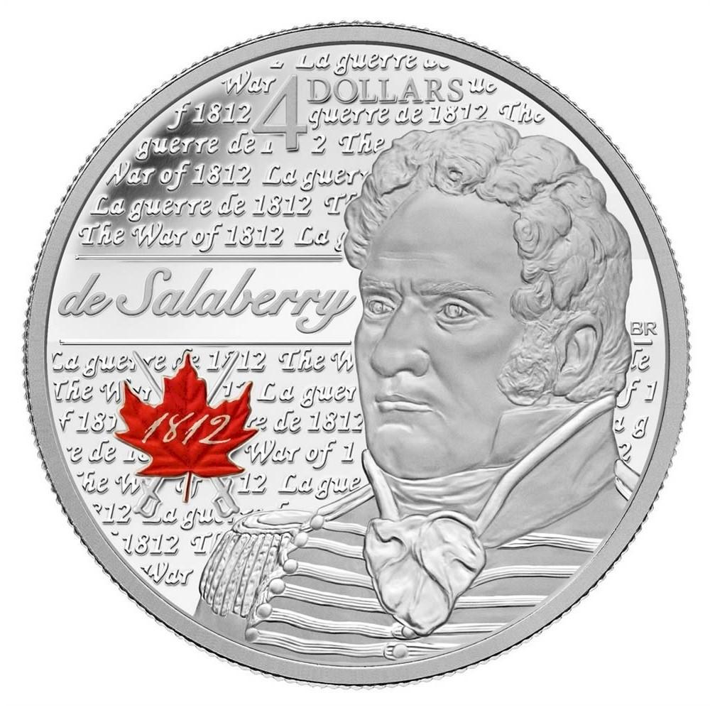 Канада 25 центов 2013 года Война 1812 цветная эмаль года код 22352
