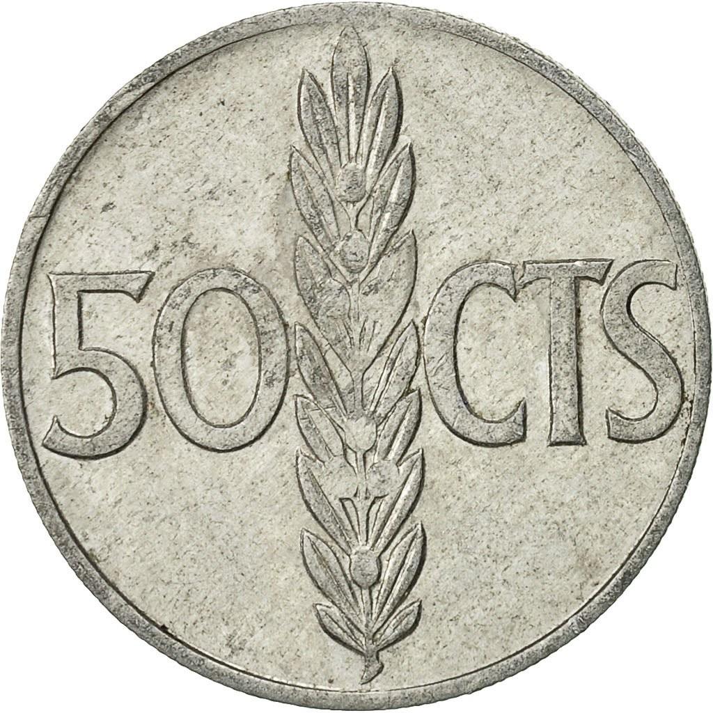 Испания 50 сентимо 1966 года код 22467