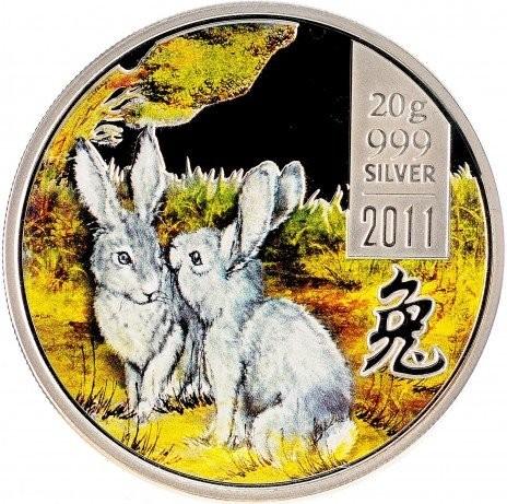"""Острова Кука 2 доллара 2011 года """"Год кролика"""""""