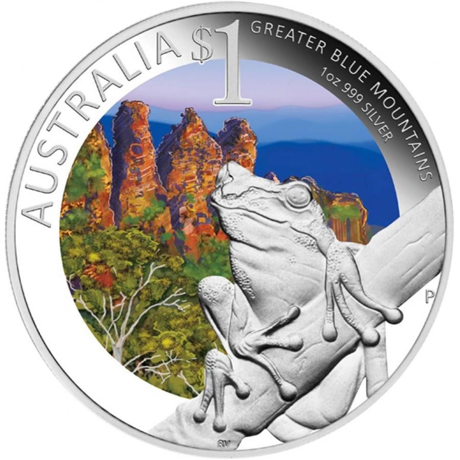 Австралия 1 доллар 2011 года Лягушка. Национальные парки в Голубых Горах Цветная эмаль код Н77012