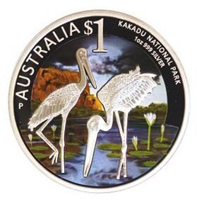 Австралия 1 доллар 2013 года Национальный парк Какаду. Черные Аисты. Цветная эмаль код Н77011