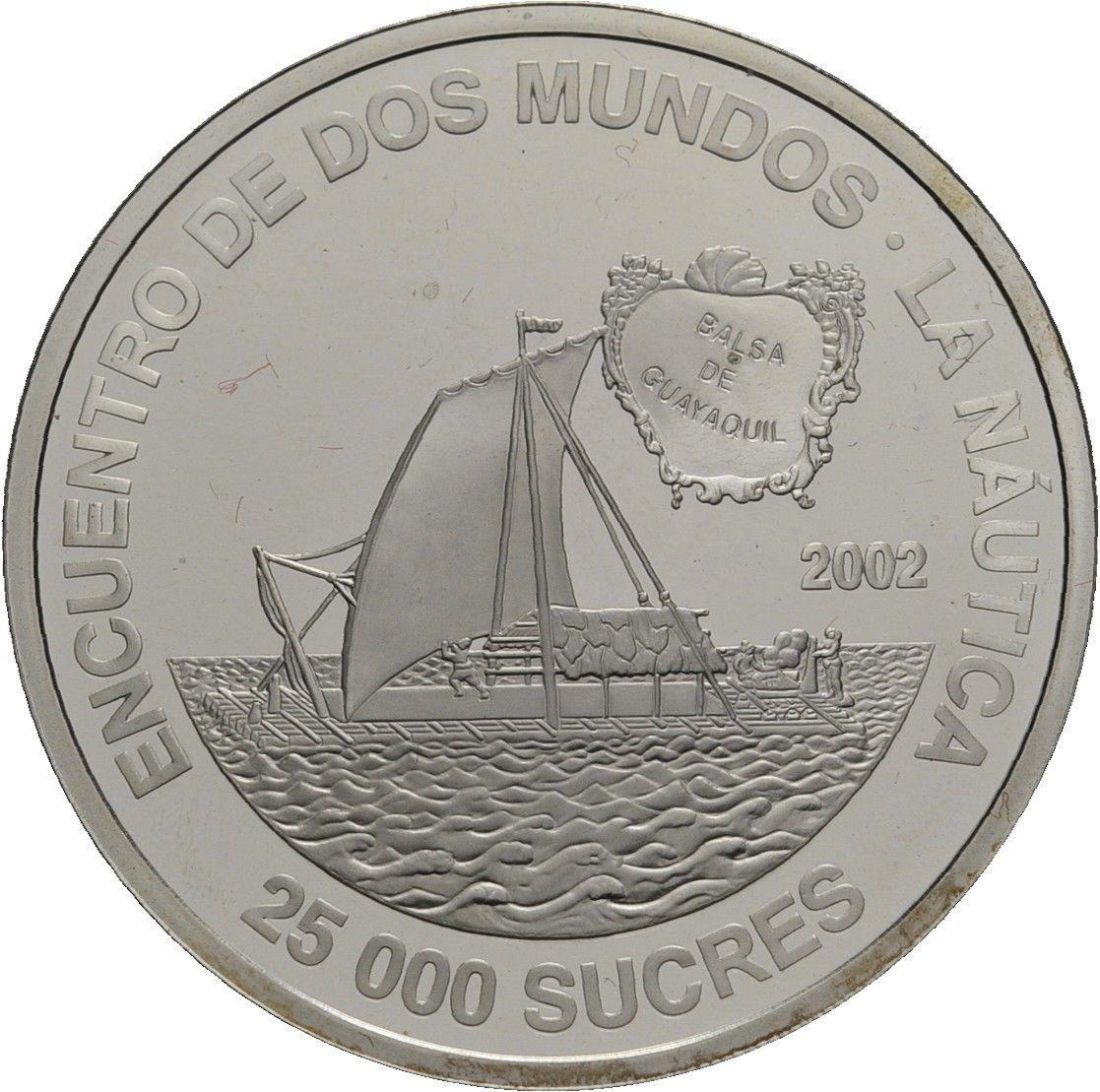 Эквадор 25000 сукре 2002 года Пробковый парусный код Н77084